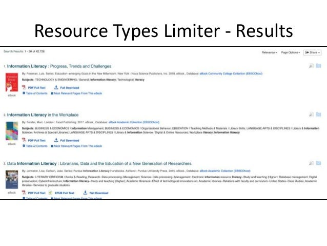 To continue demonstrating the use of limiters, I have removed the eBooks, and Videos limiters. I have also re-applied the ...