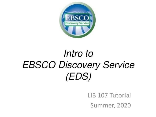 Intro to EDS