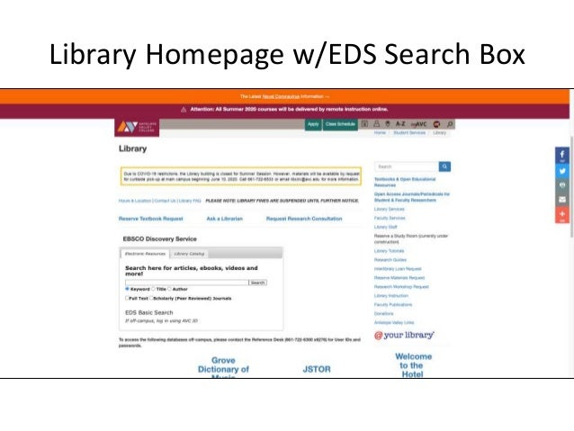 Library Homepage w/EDS Search Box