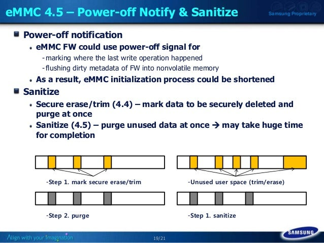 19/21 Samsung ProprietaryeMMC 4.5 – Power-off Notify & Sanitize Power-off notification eMMC FW could use power-off signal ...