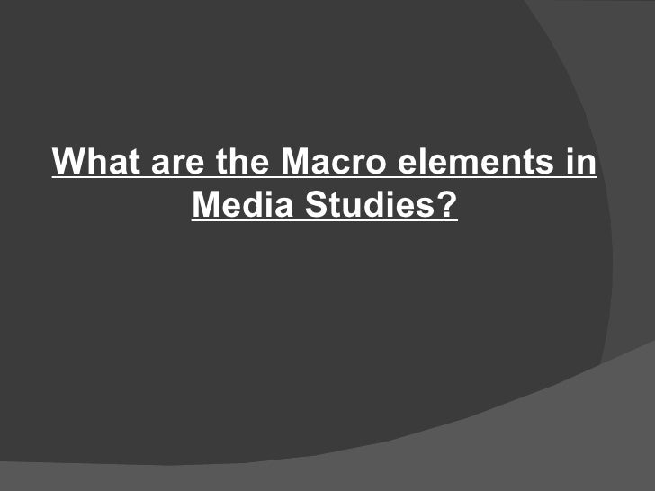 What are the Macro elements in       Media Studies?
