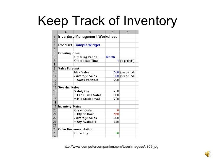 keeping inventory in excel