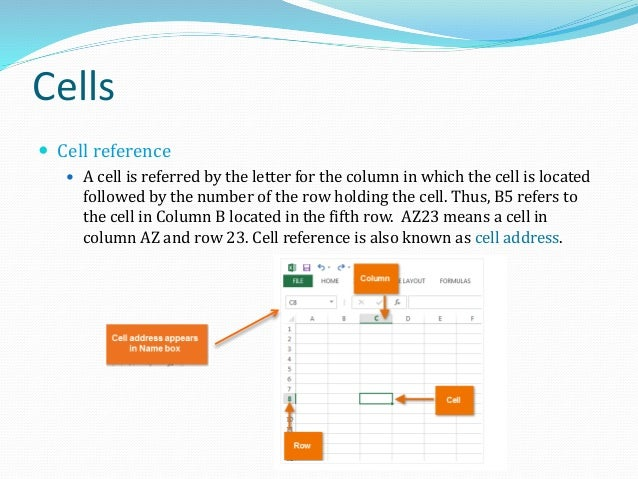 Cells  A cell must be active if we wish to enter data into it. An active cell has a thick dark boundary, called cell sele...