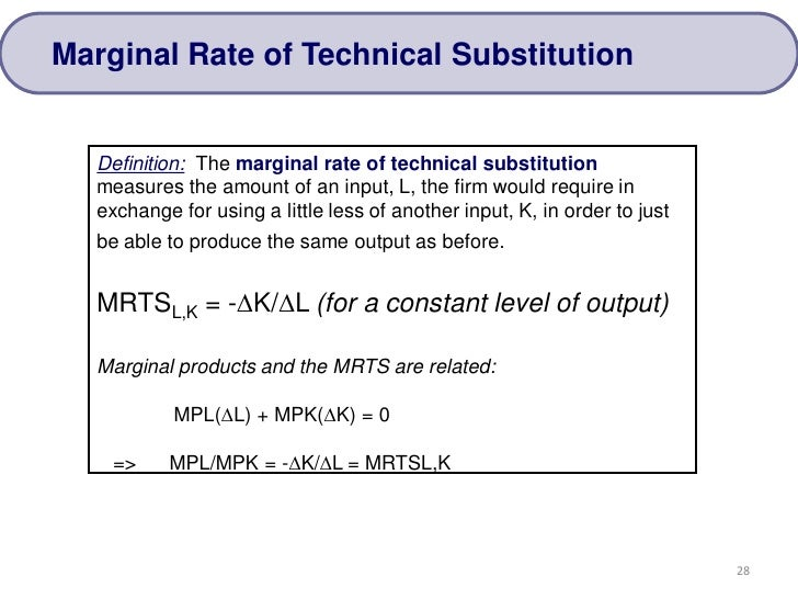define marginal rate of technical substitution