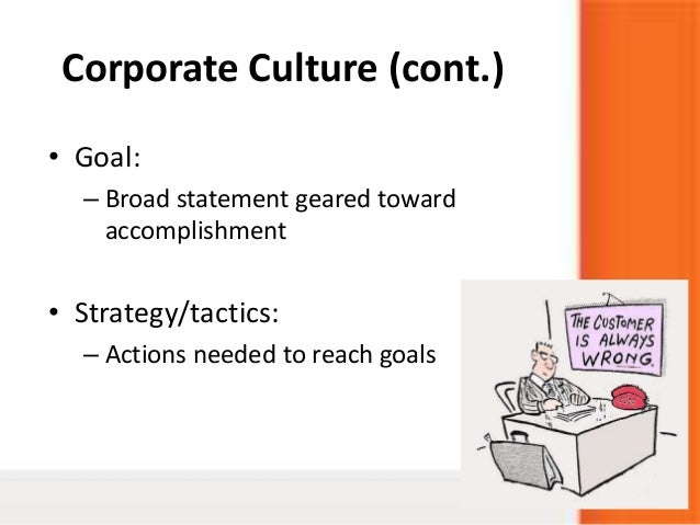 Corporate Culture (cont.)• Goal:– Broad statement geared towardaccomplishment• Strategy/tactics:– Actions needed to reach ...