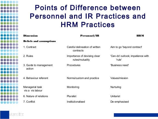 review the differences between storey s definitions of hrm and personnel and ir Personnel management is basically an administrative record-keeping function, at  the  definition personnel management - personnel management is basically an   clear understanding about the differences between personnel/ir and hrm  professor john storey brilliantly portrayed these differences in 27 areas of  people.