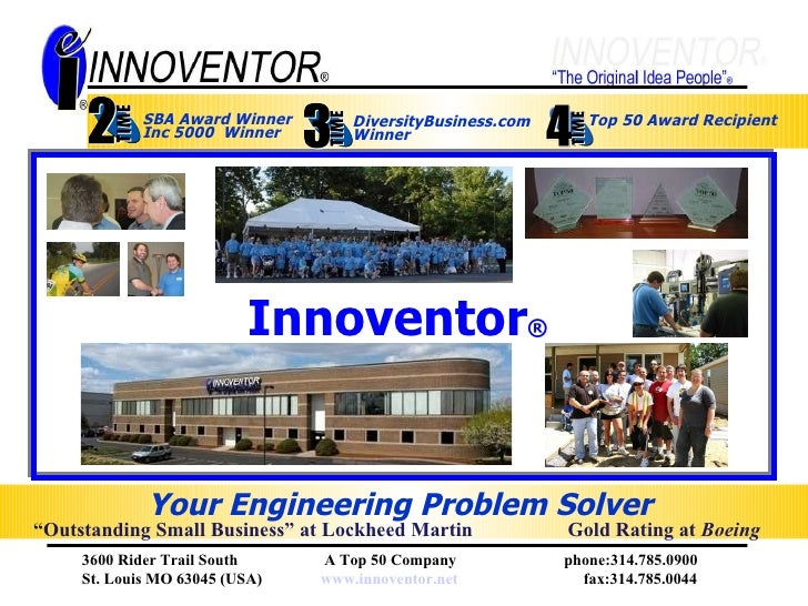 Innovento r ®   Top 50 Award Recipient Your Engineering Problem Solver   Gold Rating at  Boeing DiversityBusiness.com  Win...