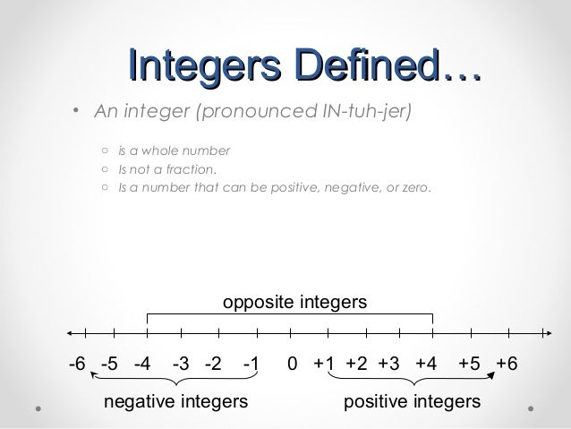 Introduction To Integers on First School Years Maths