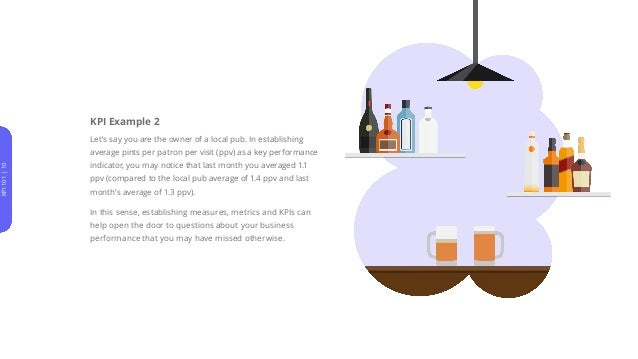 KPI Example 2 Let's say you are the owner of a local pub. In establishing average pints per patron per visit (ppv) as a ke...