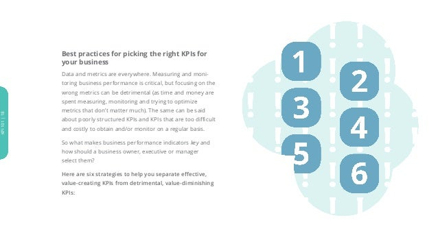 Best practices for picking the right KPIs for your business Data and metrics are everywhere. Measuring and moni- toring bu...