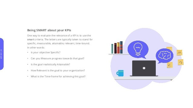 Being SMART about your KPIs One way to evaluate the relevance of a KPI is to use the smart criteria. The letters are typic...