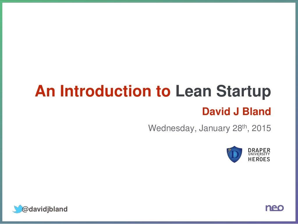 Intro to Lean Startup - Draper University