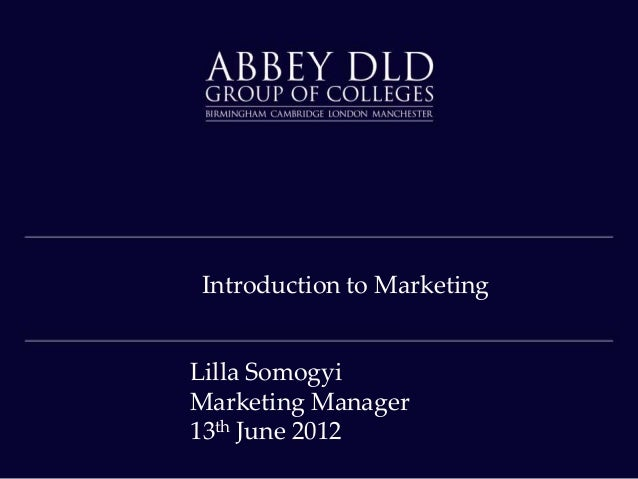 Introduction to Marketing Lilla Somogyi Marketing Manager 13th June 2012