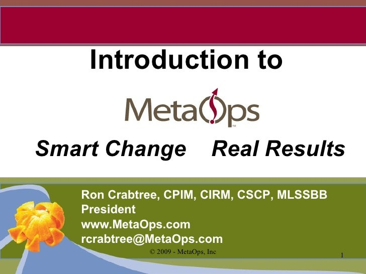 Introduction to Smart Change  Real Results Ron Crabtree, CPIM, CIRM, CSCP, MLSSBB President www.MetaOps.com [email_address]