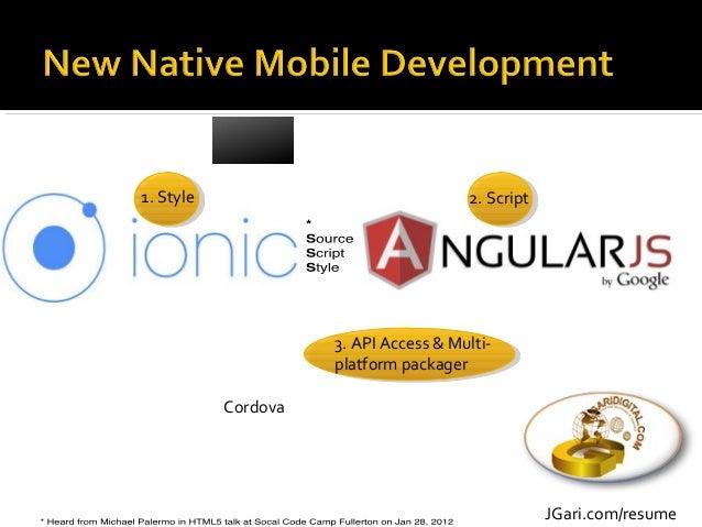 JGari.com/resume 1. Style 2. Script 3. API Access & Multi- platform packager Cordova