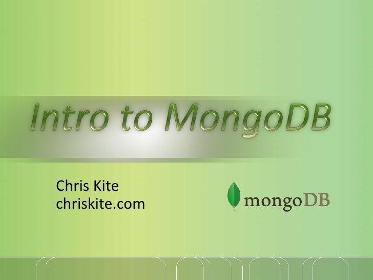 Intro To Mongo Db