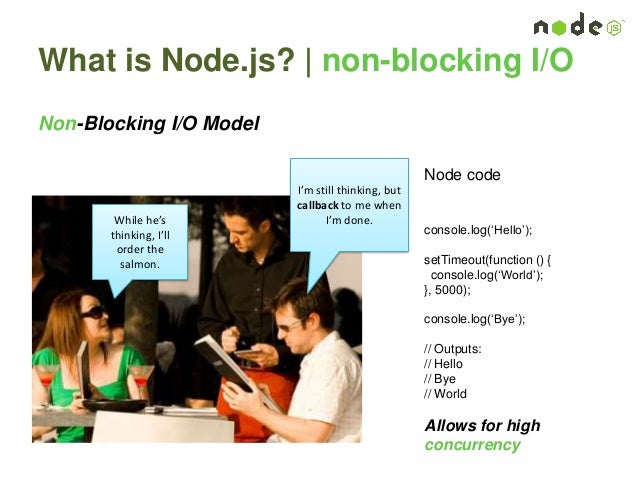 What is Node.js?   non-blocking I/O Non-Blocking I/O Model I'm still thinking, but callback to me when I'm done.While he's...
