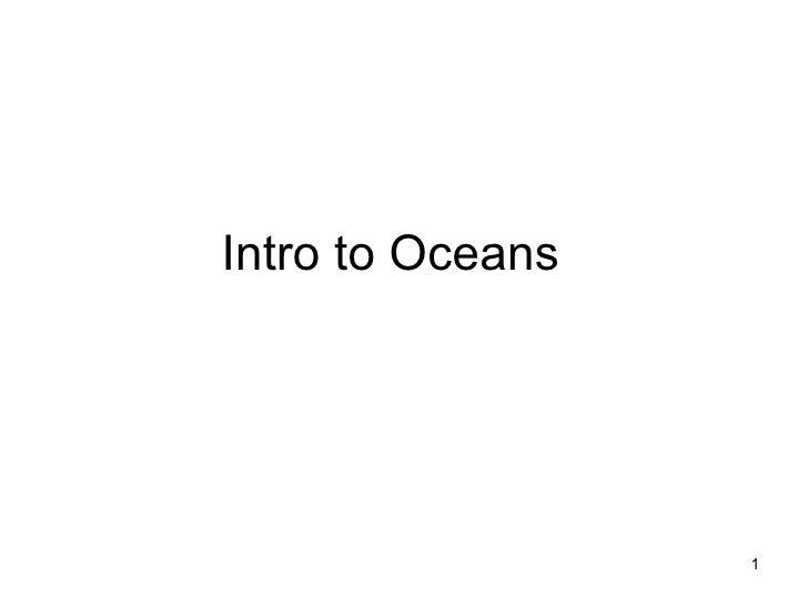 Intro to Oceans