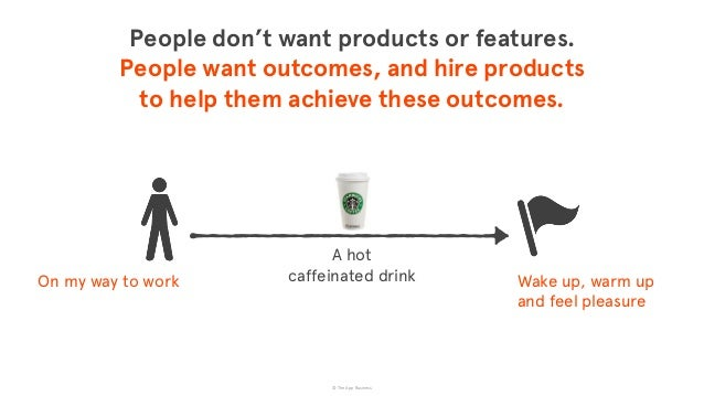 © The App Business Wake up, warm up and feel pleasure A hot  caffeinated drink People don't want products or features. ...