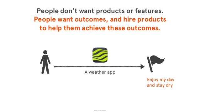 © 2015 The App Business People don't want products or features.  People want outcomes, and hire products  to help them a...