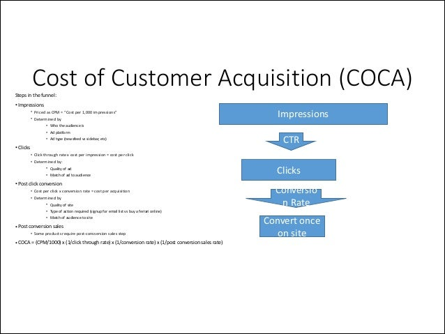 Cost of Customer Acquisition (COCA)  Steps  in  the  funnel:   • Impressions    • Priced  as  CPM  = ...