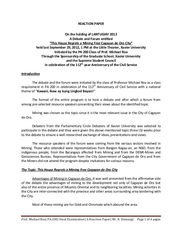 REACTION PAPER                               On the holding of LANTUGIAY 2012                                  A Debate an...