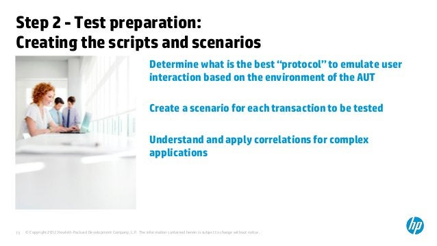 Step 2 - Test preparation:Creating the scripts and scenarios                                                              ...