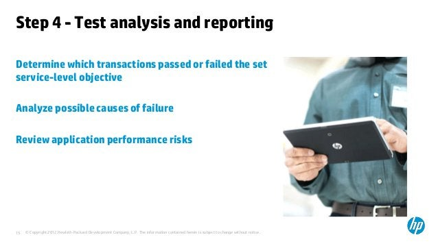 Step 4 - Test analysis and reportingDetermine which transactions passed or failed the setservice-level objectiveAnalyze po...