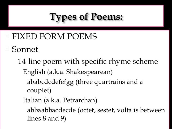 Intro to poetry types and terms