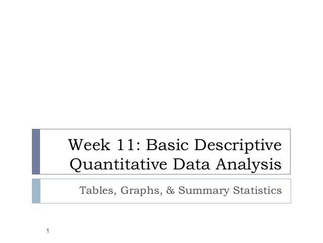 Week 11: Basic Descriptive Quantitative Data Analysis Tables, Graphs, & Summary Statistics 1