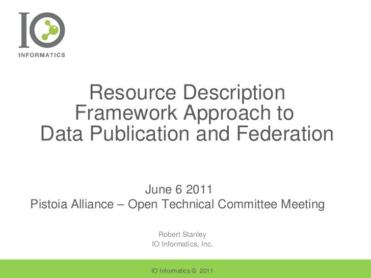 Resource Description Framework Approach to  Data Publication and Federation Robert Stanley IO Informatics, Inc. IO Informa...