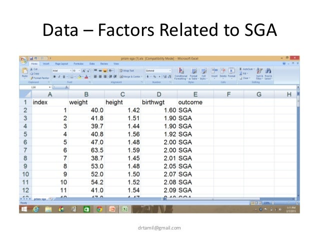 Data – Factors Related to SGA drtamil@gmail.com