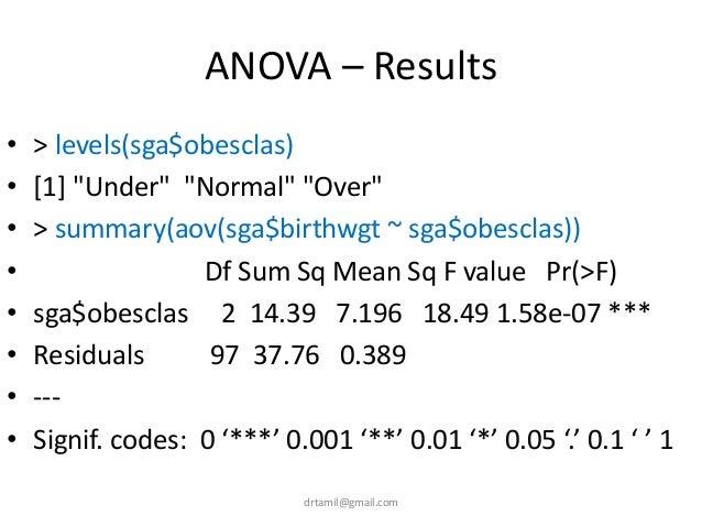 """ANOVA – Results • > levels(sga$obesclas) • [1] """"Under"""" """"Normal"""" """"Over"""" • > summary(aov(sga$birthwgt ~ sga$obesclas)) • Df ..."""