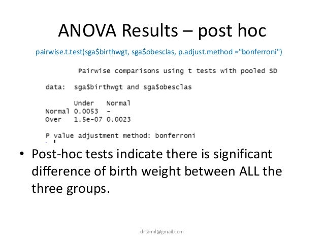 ANOVA Results – post hoc • Post-hoc tests indicate there is significant difference of birth weight between ALL the three g...