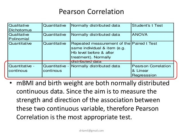 Pearson Correlation • mBMI and birth weight are both normally distributed continuous data. Since the aim is to measure the...
