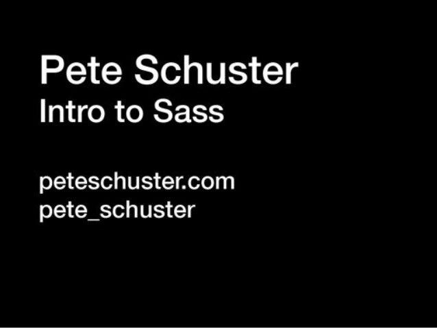 Intro to Sass