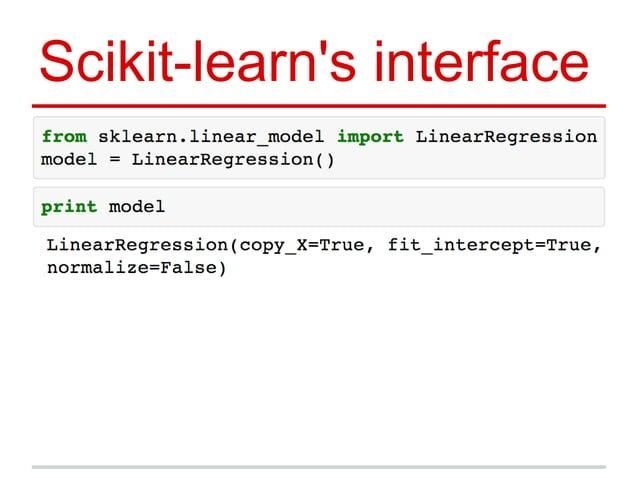 Scikit-learn's interface