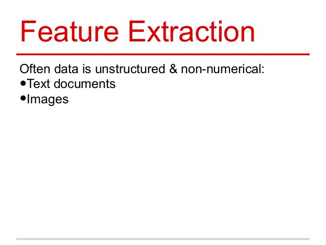 Feature Extraction Often data is unstructured & non-numerical: •Text documents •Images