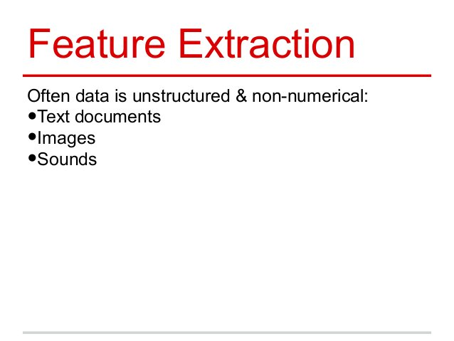 Feature Extraction Often data is unstructured & non-numerical: •Text documents •Images •Sounds