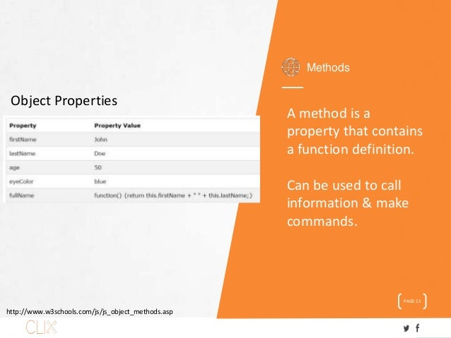 Methods PAGE 11 A method is a property that contains a function definition. Can be used to call information & make command...