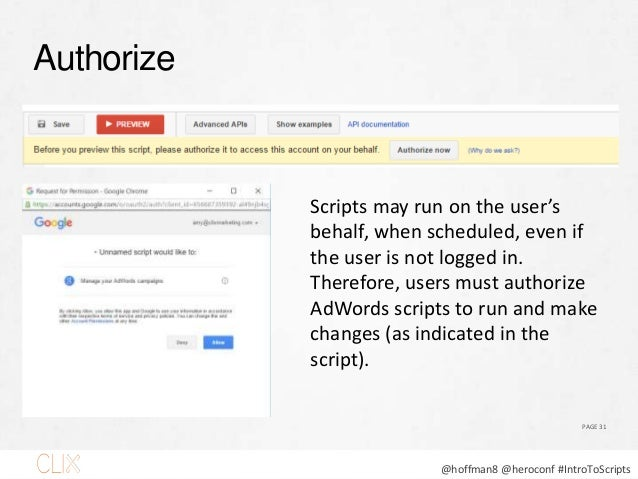 @hoffman8 @heroconf #IntroToScripts Preview PAGE 32 ALWAYS preview your scripts!