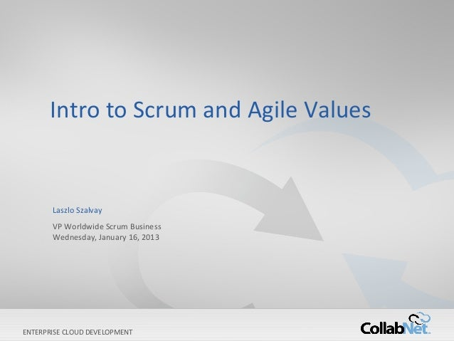 Intro to Scrum and Agile Values       Laszlo Szalvay       VP Worldwide Scrum Business       Wednesday, January 16, 2013EN...