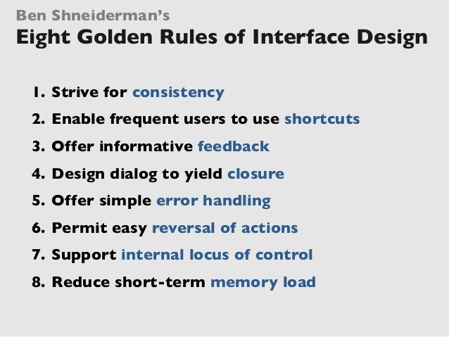 An Introduction To Ben Shneiderman S Eight Golden Rules Of Interface