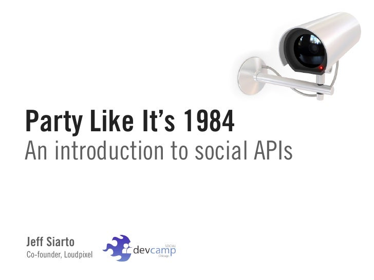 Party Like It's 1984 An introduction to social APIs   Jeff Siarto Co-founder, Loudpixel