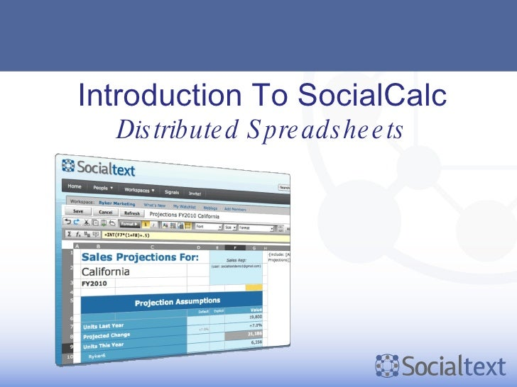 Introduction To SocialCalc Distributed Spreadsheets