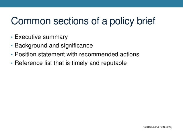 How to write a policy brief in consolidation