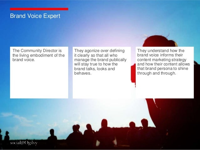 Brand Voice ExpertThe Community Director is      They agonize over defining    They understand how thethe living embodimen...