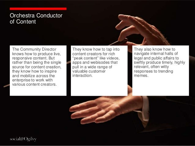 Orchestra Conductorof ContentThe Community Director         They know how to tap into     They also know how toknows how t...