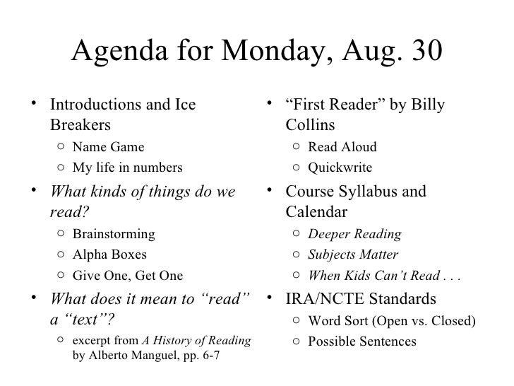 Agenda for Monday, Aug. 30 <ul><li>Introductions and Ice Breakers (My life in numbers) </li></ul><ul><li>Alpha Boxes:  Wha...