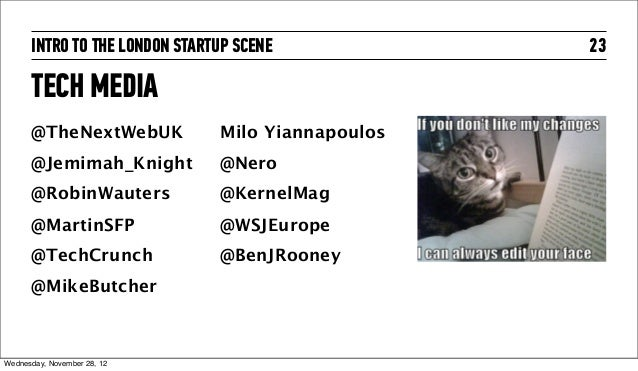 INTRO TO THE LONDON STARTUP SCENE            23      TECH MEDIA      @TheNextWebUK            Milo Yiannapoulos      @Jemi...